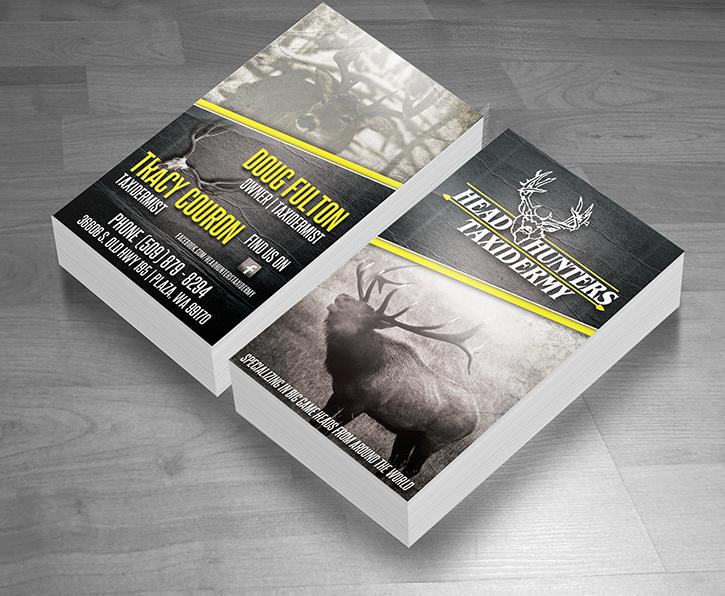 Head-Hunters-Taxidermy-Elk-Deer-Business-Card-Design-Wood