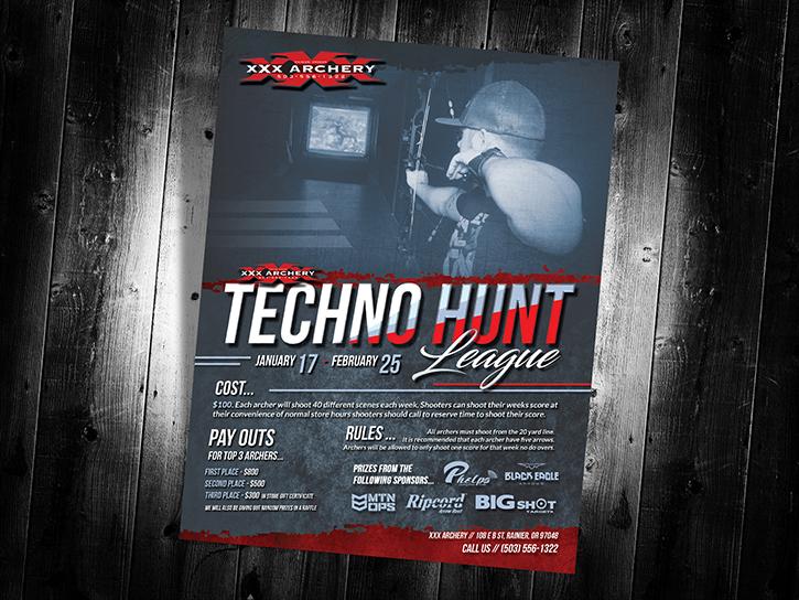 Xxx-archery-techno-hunt-league-poster-design