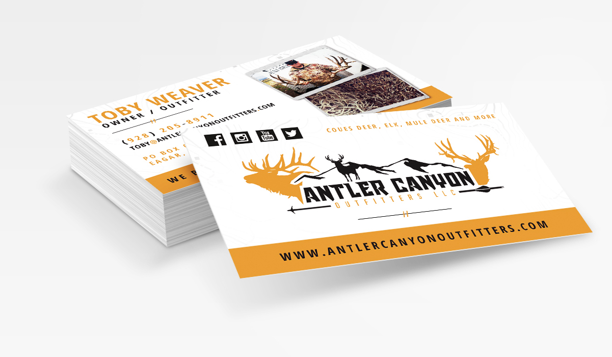 Antler Canyon Outfitters Deer Elk Hunting Business Card Design