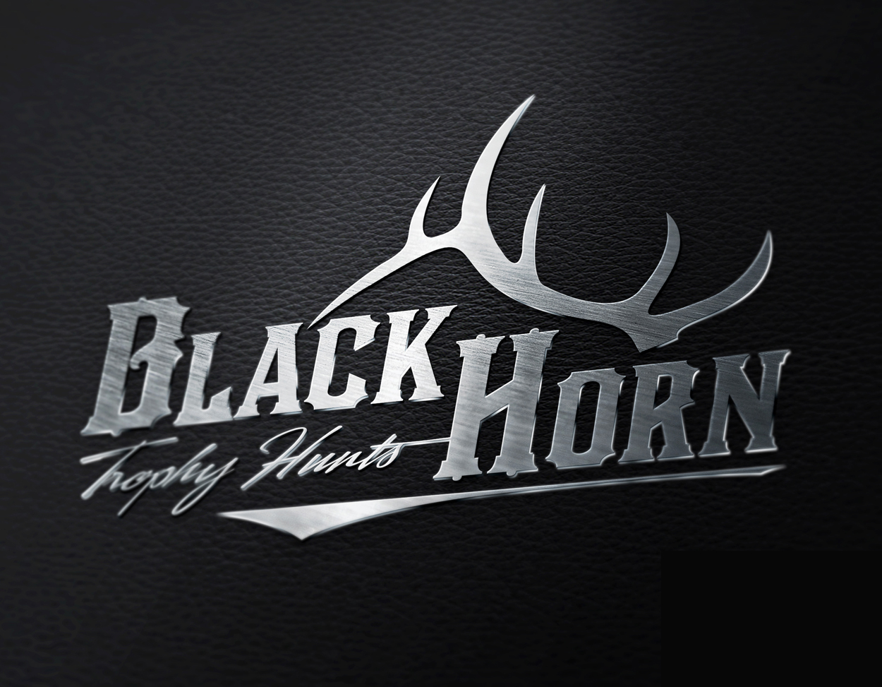 Black Horn Trophy Hunts Elk Anter Logo Design