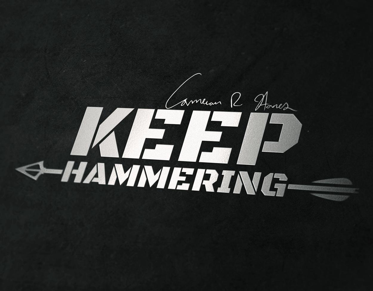 Cameron Hanes Keep Hammering Arrow Logo Design