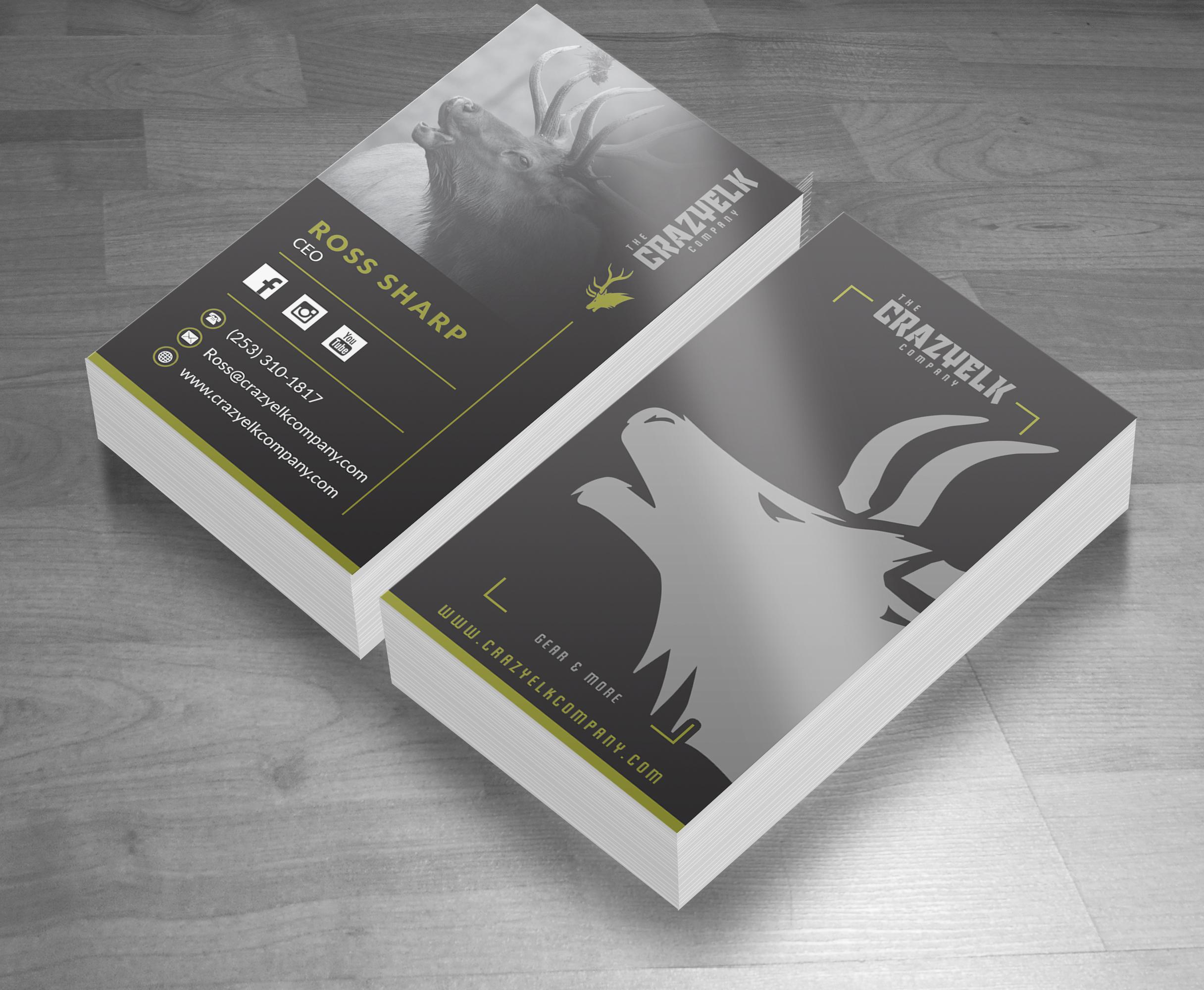 Crazy Elk Outdoor Apparel Brand Business Card Design
