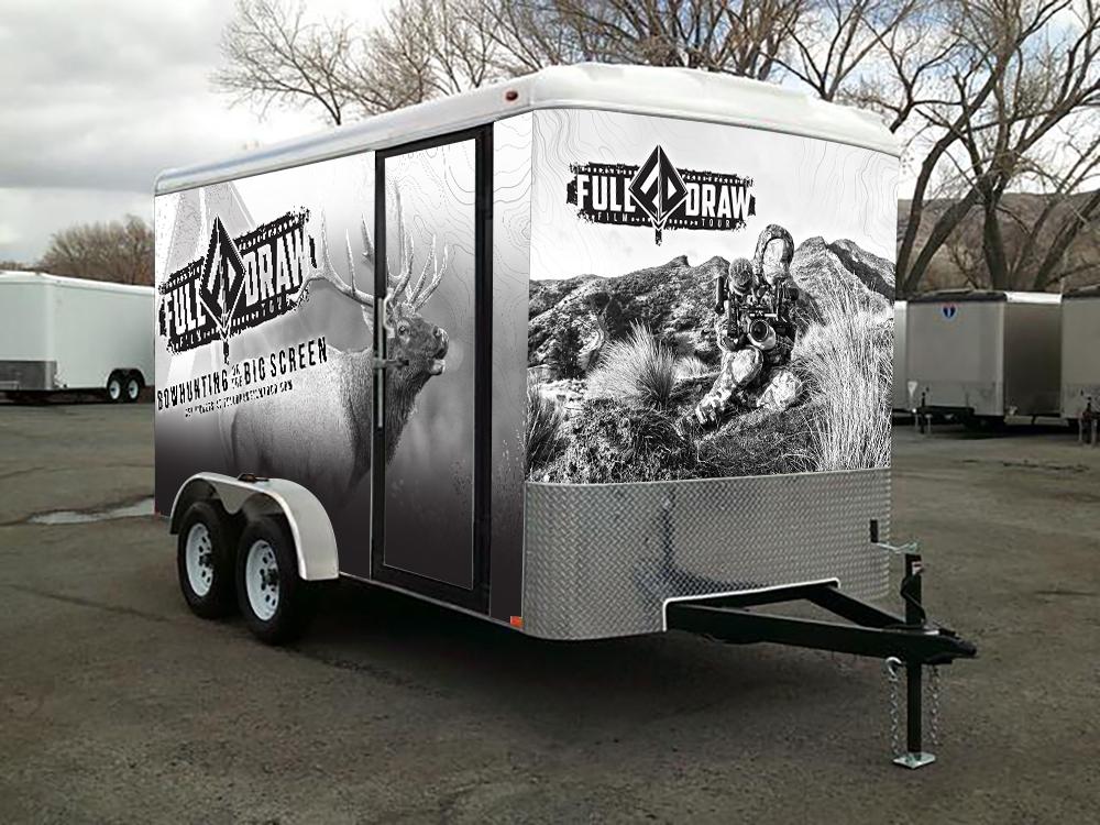 Full Draw Film Tour Cargo Trailer Graphic Wrap Design