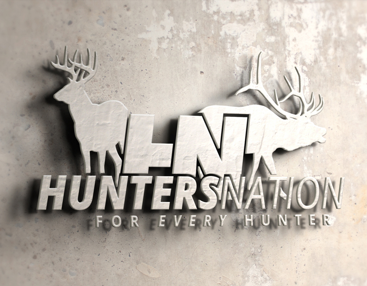 Hunters Nation Whitetail Bull Elk Hunting Logo Design
