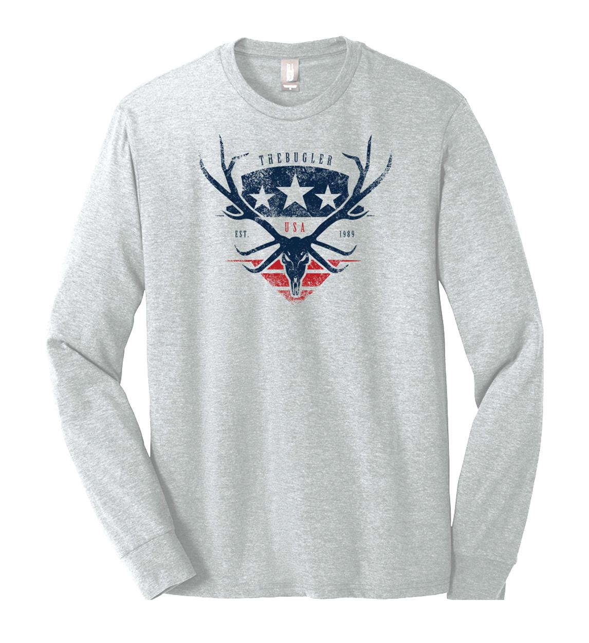 The Bugler Brand Americana USA Elk Shield Long Sleeve Shirt Design