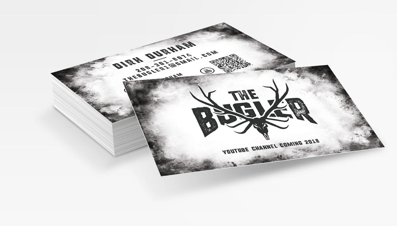 The-Bugler-Elk-Hunting-Euro-Skull-Business-Card-Design